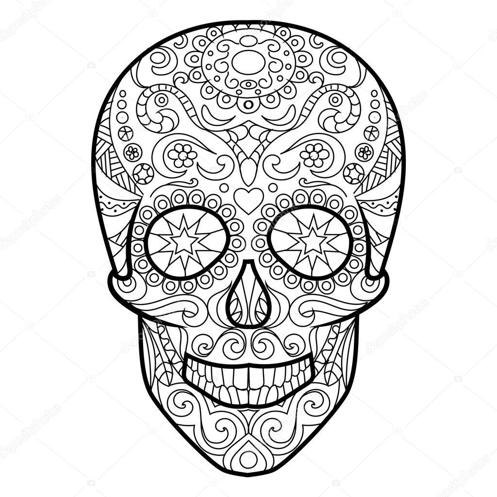 Crâne Coloriages pour vecteur adultes — Image vectorielle