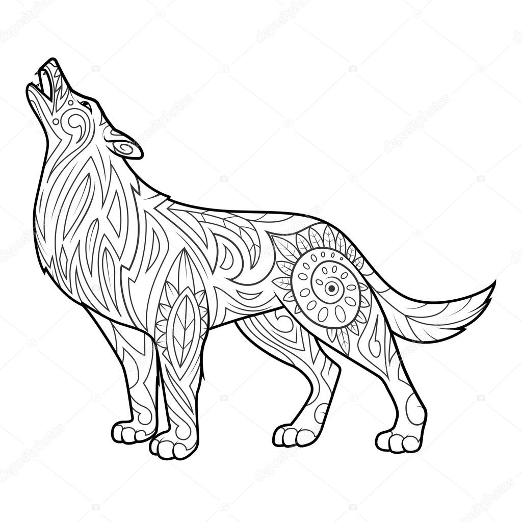 Adult Wolf Coloring Page