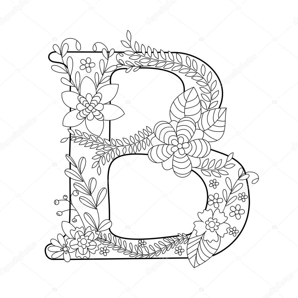 Letter B Kleurboek Voor Volwassenen Vector