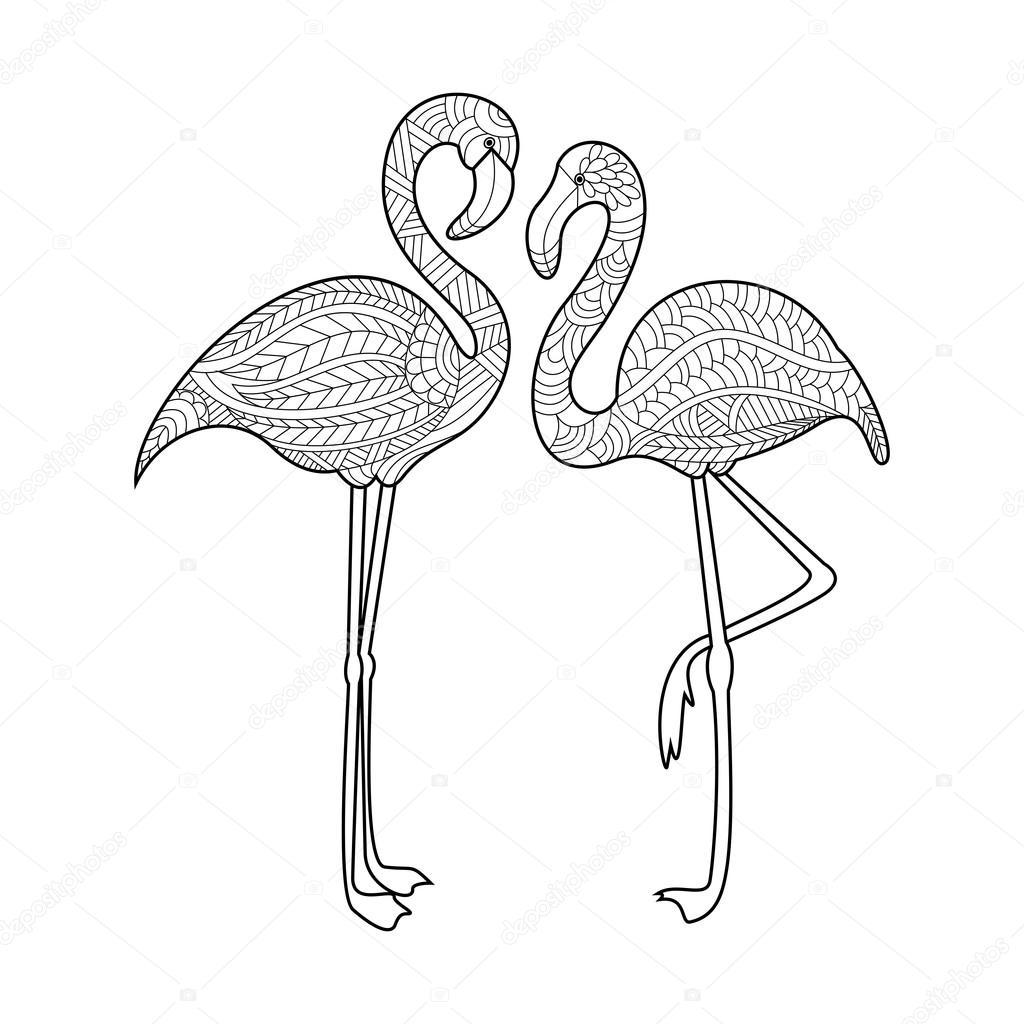 Flamingo kleurboek voor volwassenen vector — Stockvector