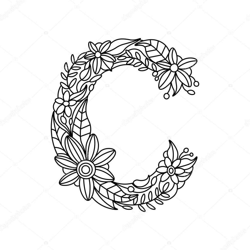 Floral Letter Coloring Pages Complex Coloring Pages Letter
