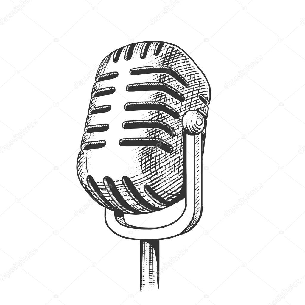 Vintage Microfoon Hand Getekende Gravure Vector