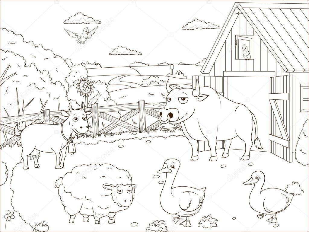 Coloring book farm cartoon educational — Stock Vector