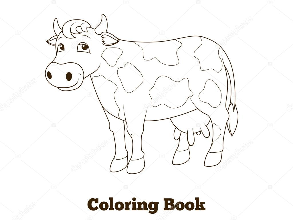 Coloring book cow cartoon educational illustration — Stock