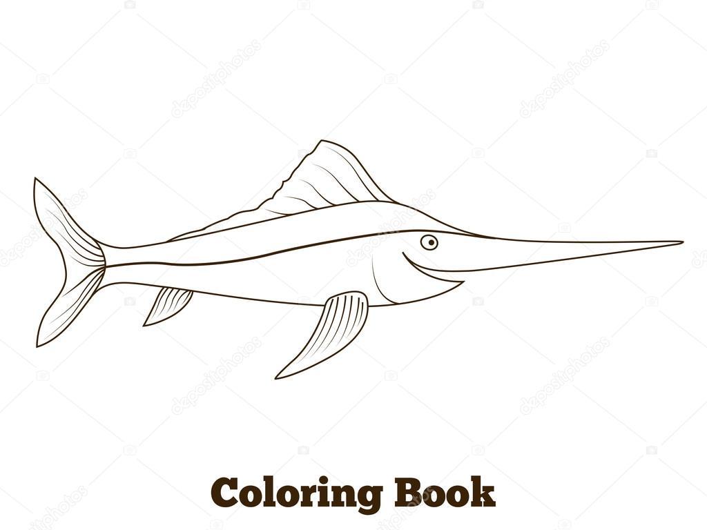 Coloring book swordfish fish cartoon illustration — Stock