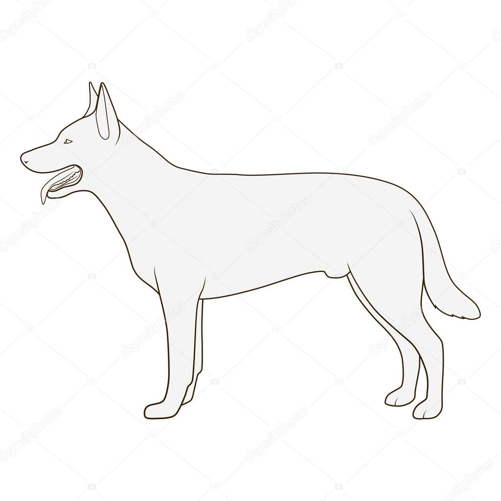 Dog Side View Scheme Silhouette Vector