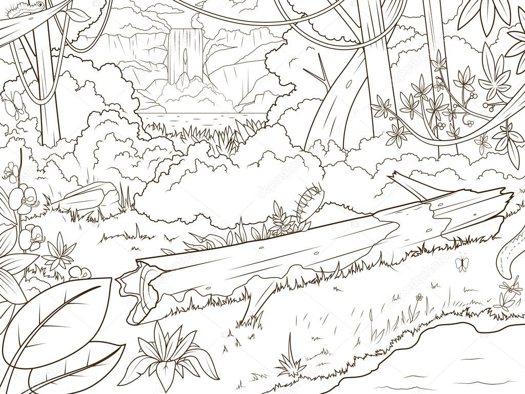 Waterfal de fort jungle dessin anim livre  colorier