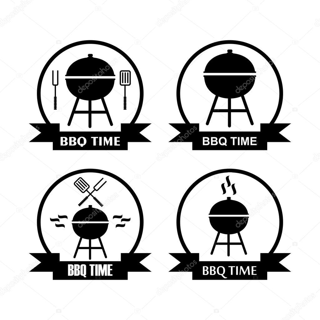 Insieme Di Logo Per Barbecue Con Griglia Padella