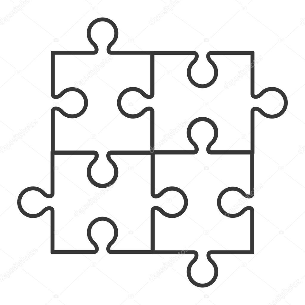 Square In Four Puzzle Pieces Icon