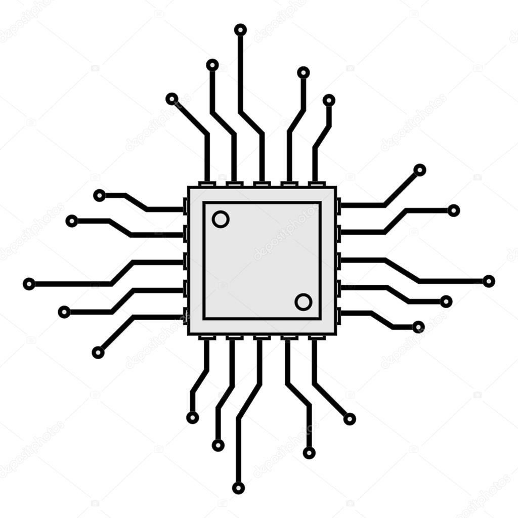 icono de la tarjeta de circuitos de CPU — Archivo Imágenes