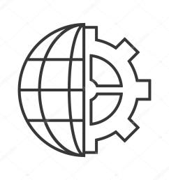 earth globe diagram and gear icon stock vector [ 1024 x 1024 Pixel ]