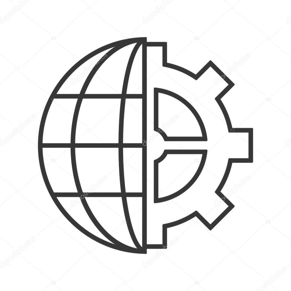 medium resolution of earth globe diagram and gear icon stock vector
