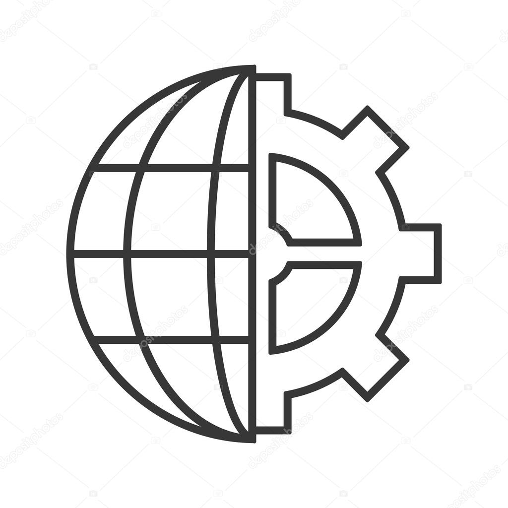 hight resolution of earth globe diagram and gear icon stock vector