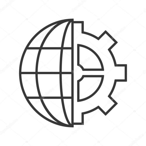 small resolution of earth globe diagram and gear icon stock vector