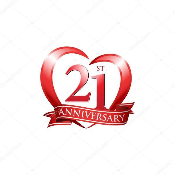 21st anniversary logo red heart