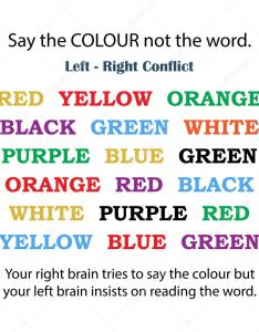 Say the colour not word left brain right conflict chart for medical examinations  vector by vectorscore also rh depositphotos