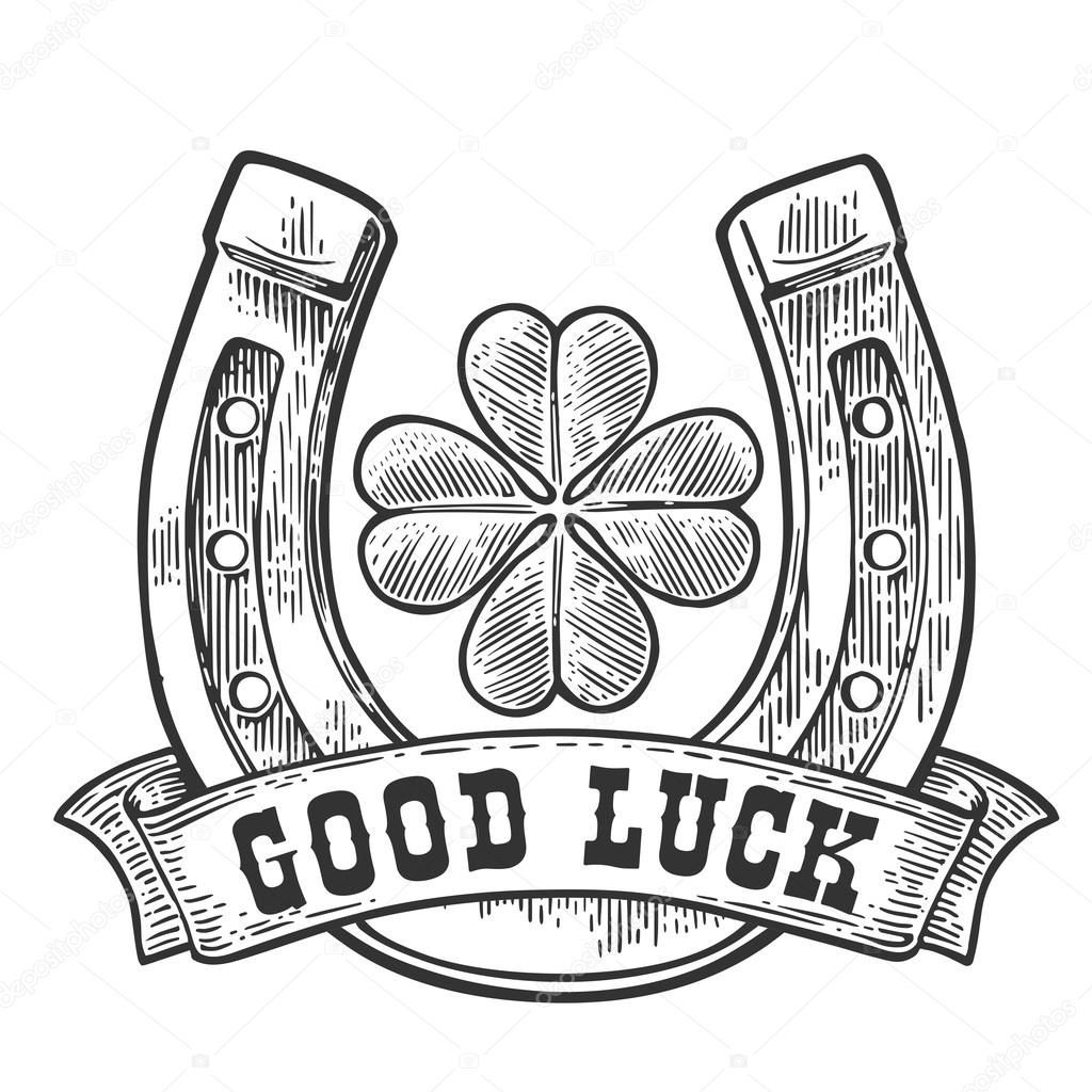Four Leaf Clover Horseshoe Ribbon With Text Good Luck