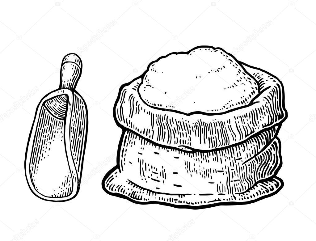 Saco con harina integral. Estilo de boceto dibujado a mano
