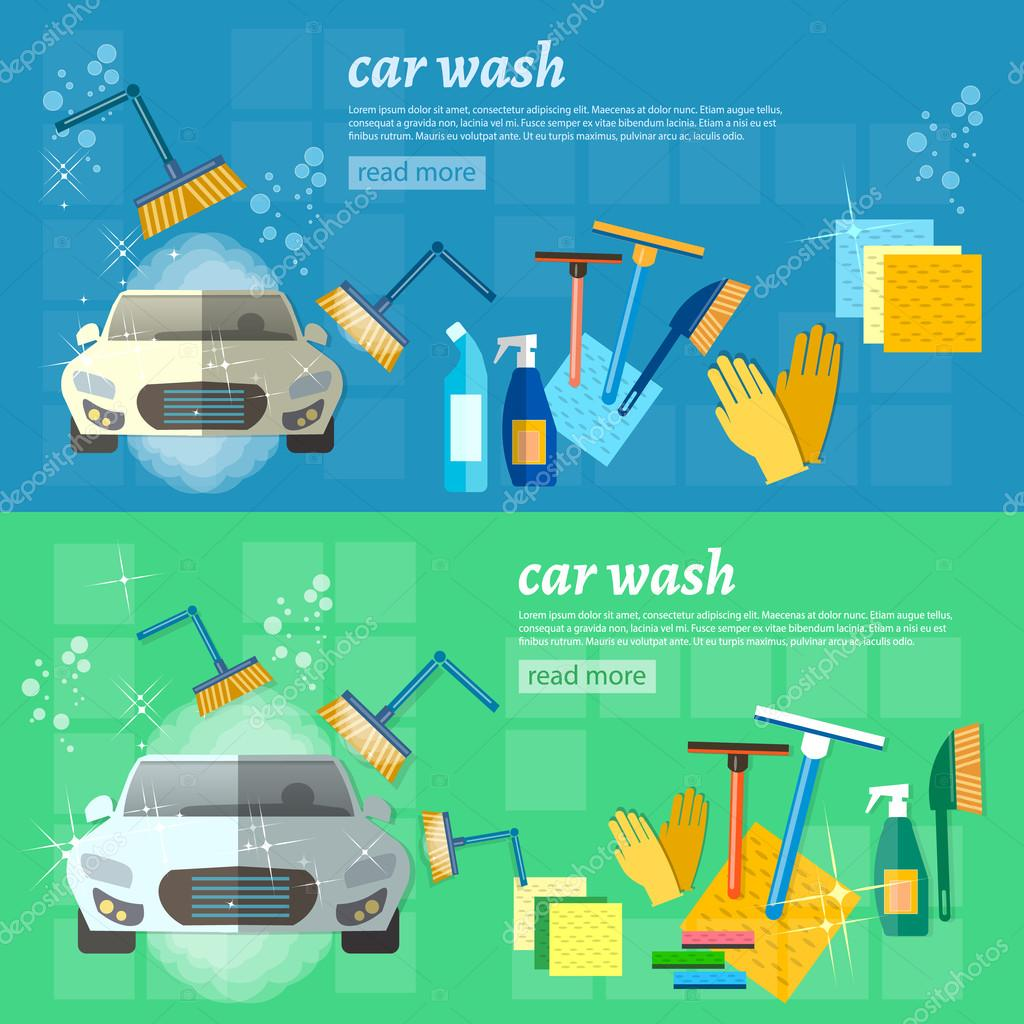 hight resolution of car wash banner clean car auto cleaner washer shower service vector illustration vector by