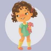 desenhos animados de beb segurando