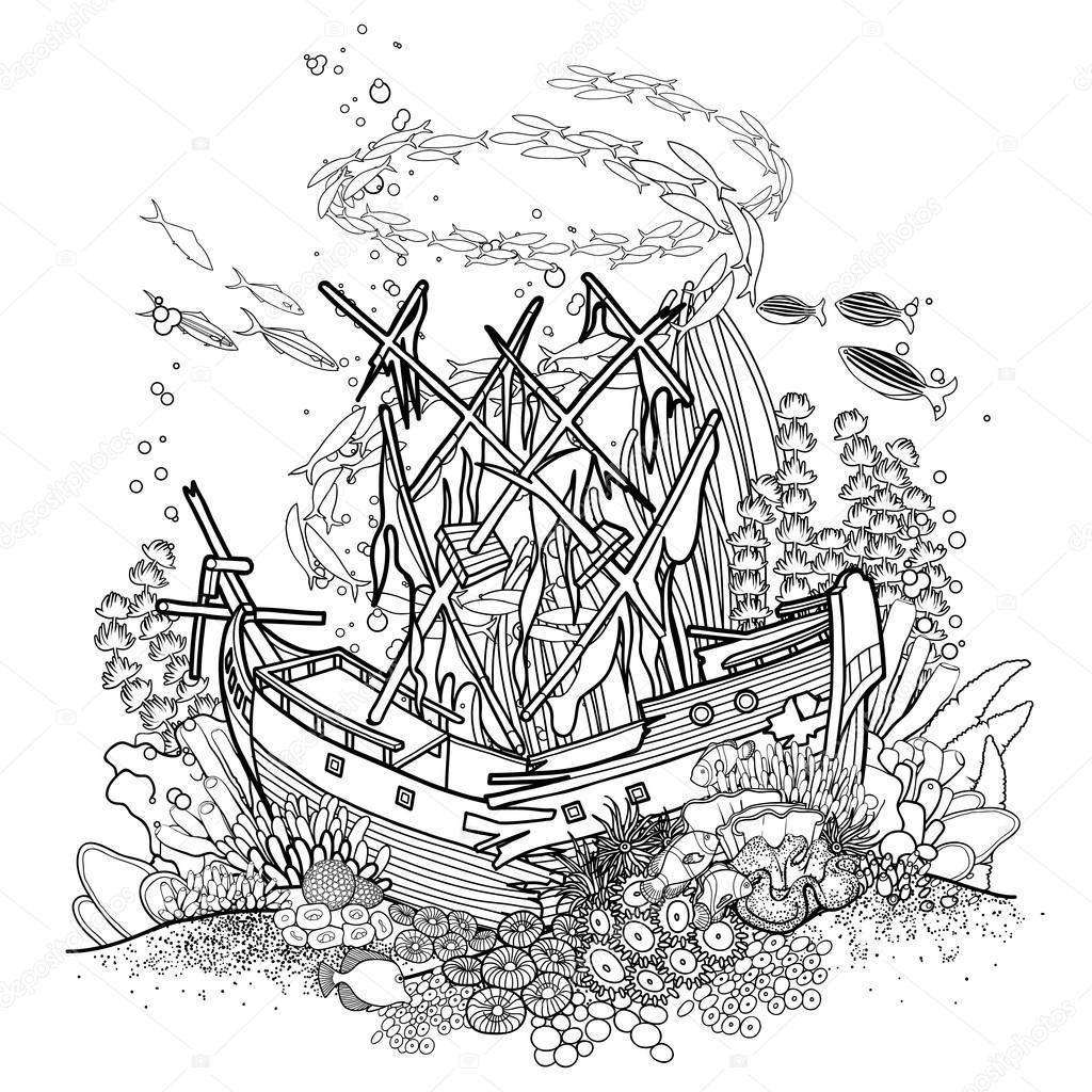 Ancient sunken ship and coral reef — Stock Vector