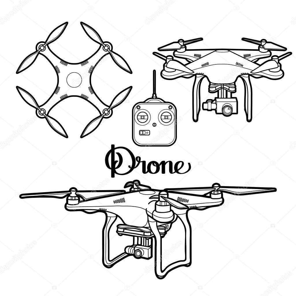 Graphic collection of drones — Vector de stock