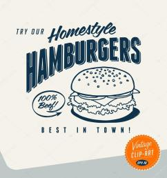 vintage clip art try our homestyle hamburgers vector vector by realcallahan [ 1024 x 1024 Pixel ]