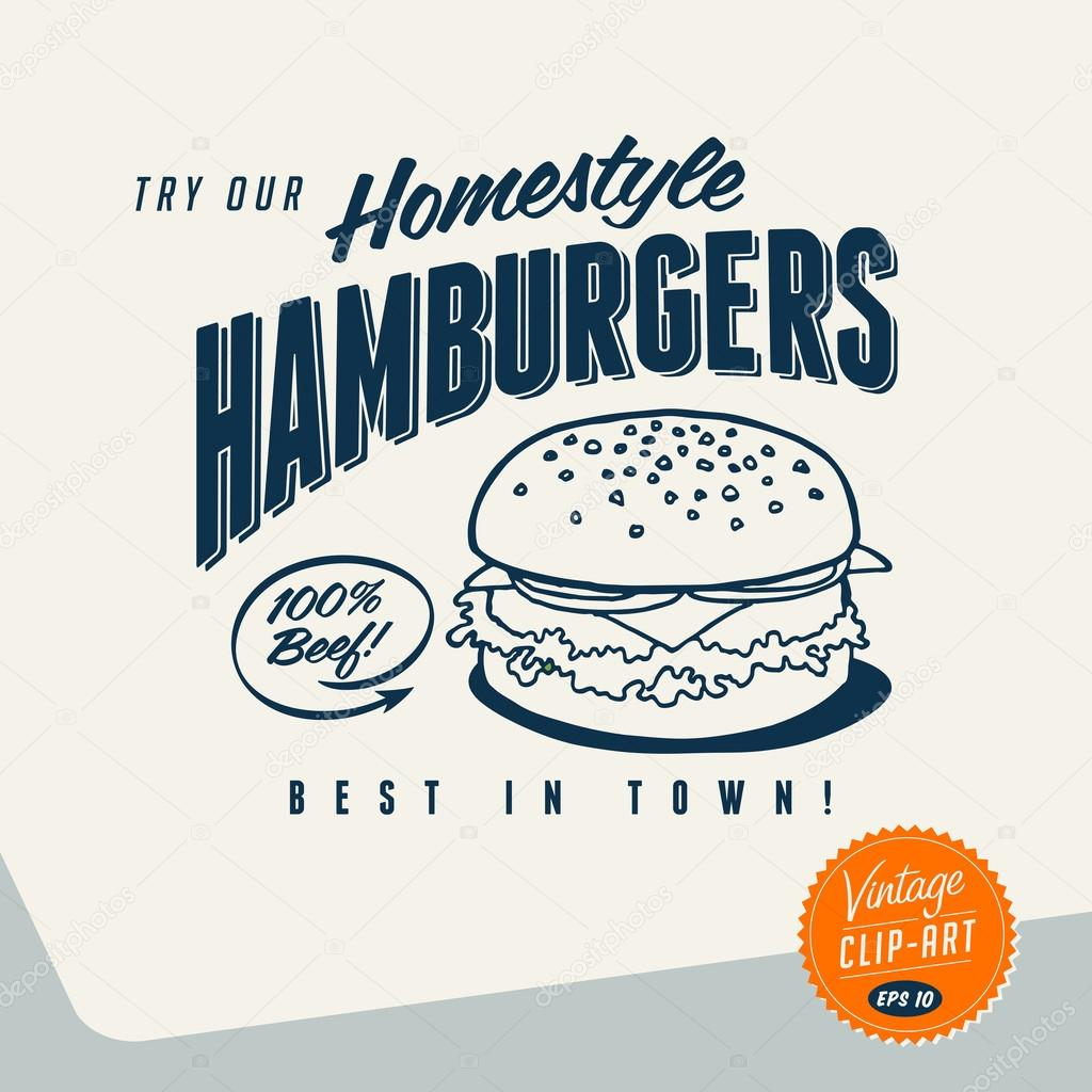 hight resolution of vintage clip art try our homestyle hamburgers vector vector by realcallahan