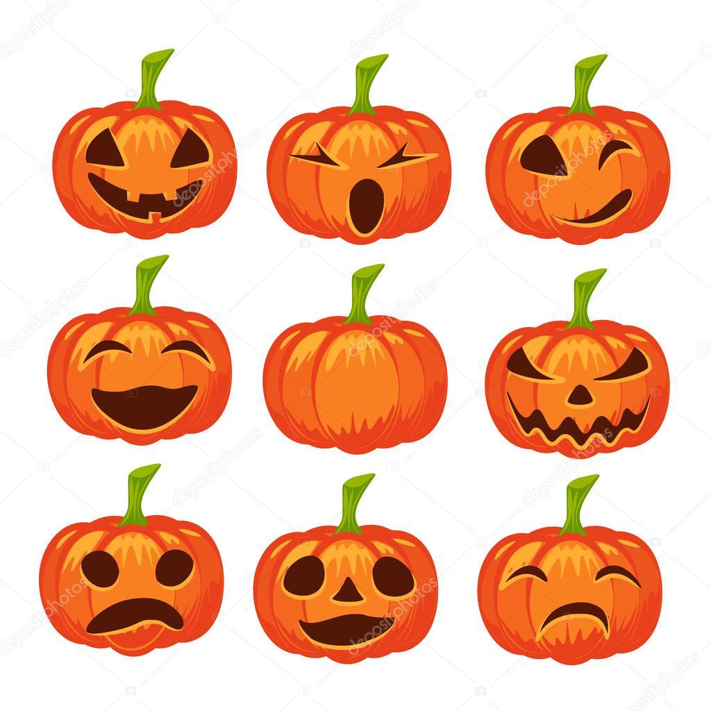 Wektor Zestaw Ikon Dyni Na Bia Ym Tle Halloween Design