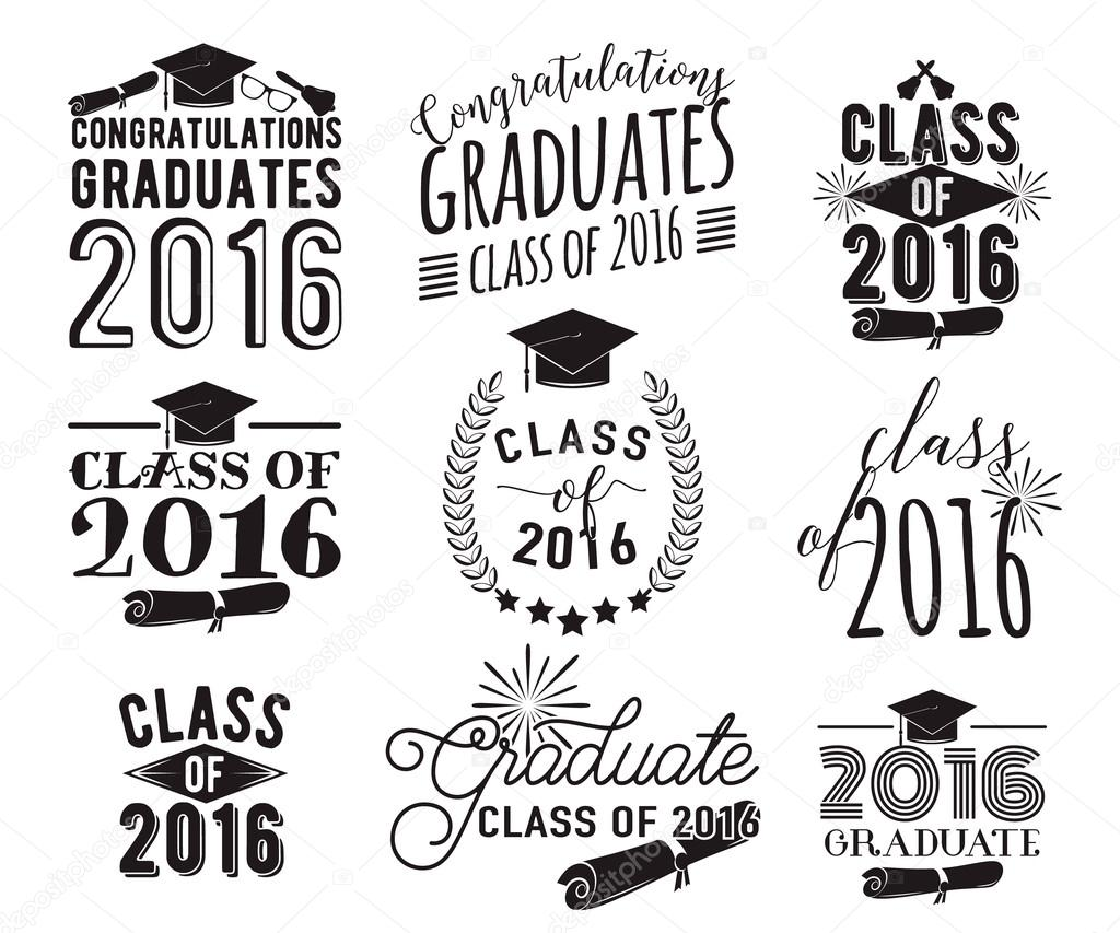 Graduation wishes overlays, lettering labels design set