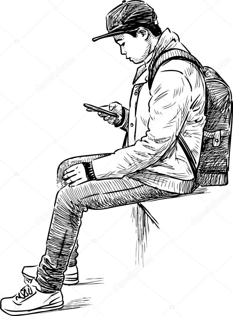 boy with a mobile phone — Stock Vector © samakarov@mail.ru