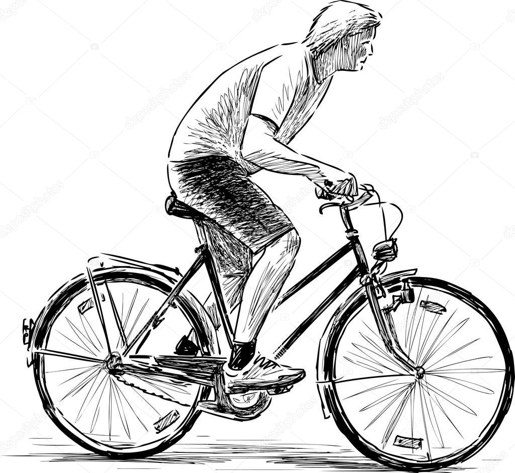 fast cyclist sketch — Stock Vector © samakarov@mail.ru