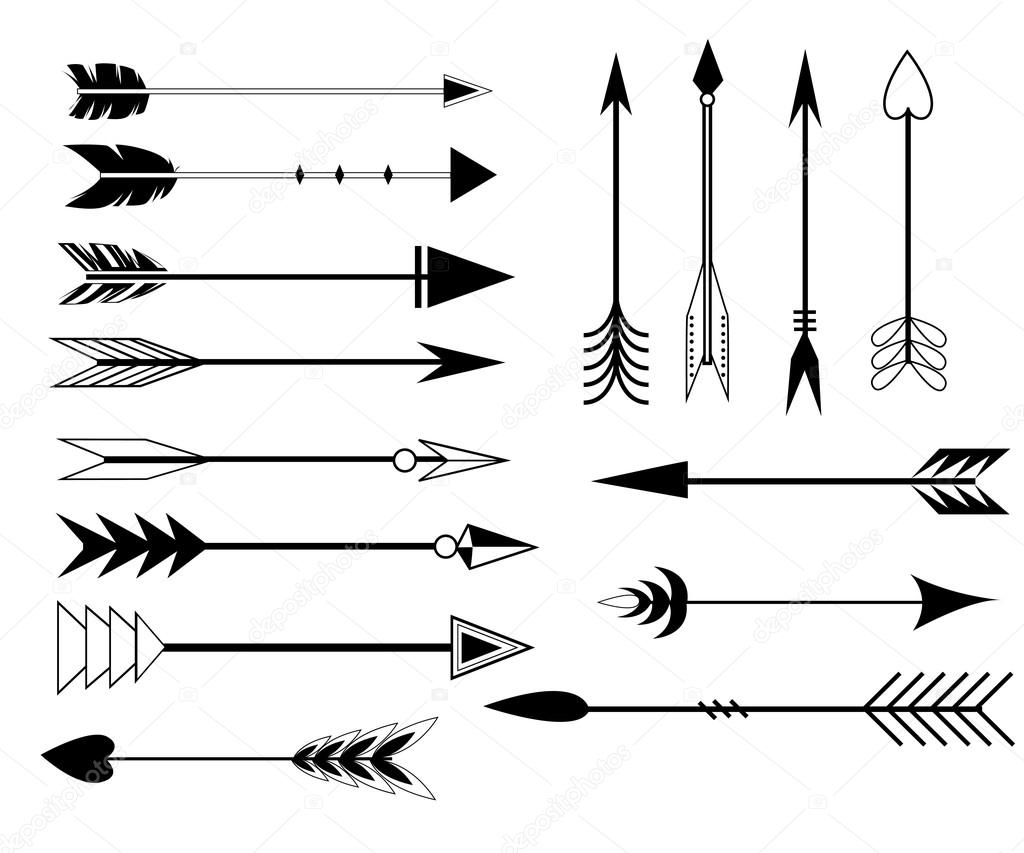 Arrow Clip Art Set In Vector On White Background Hand