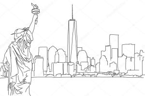 skyline york sketch drawing outline vector hand ny nyc scribble illustration cleveland dreamstime sketches paintingvalley downtown hebstreit mail