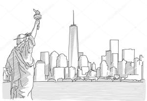 skyline york drawing sketch liberty statue hand nyc pencil vector illustration easy drawings drawn outline depositphotos line mail building sketches