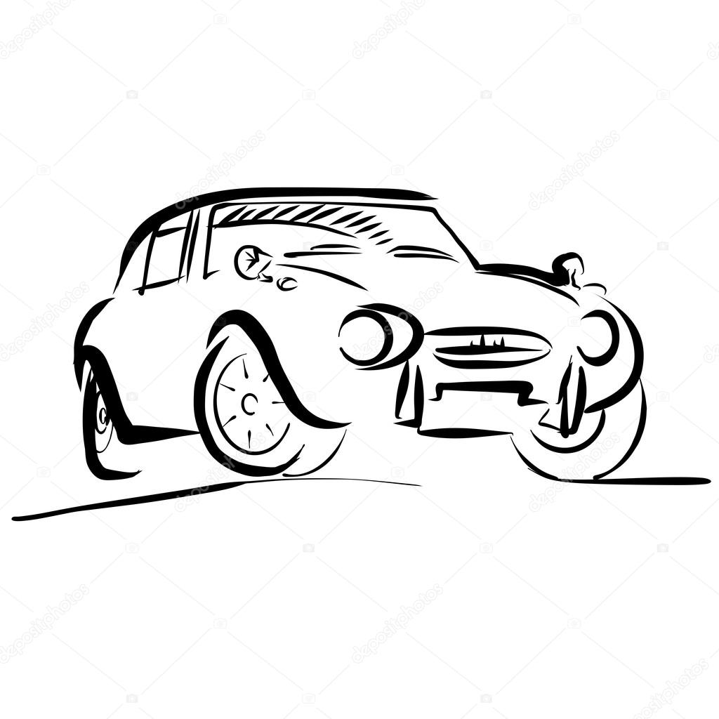 Old small sport Car Outline Sketch — Stock Vector © mail