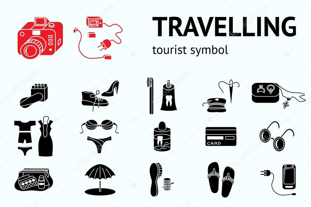 Travel icons set. Tourism, journey, trip accessories