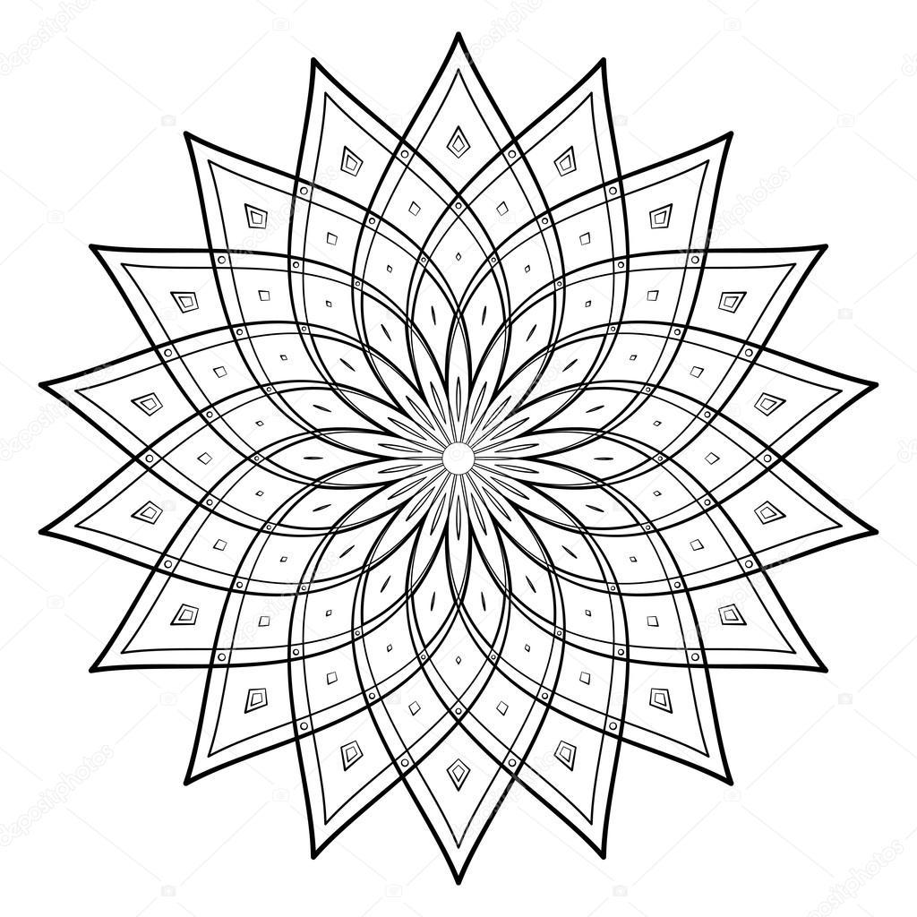 Vektor-Illustration - Mandala zum Ausmalen Runde Ornament