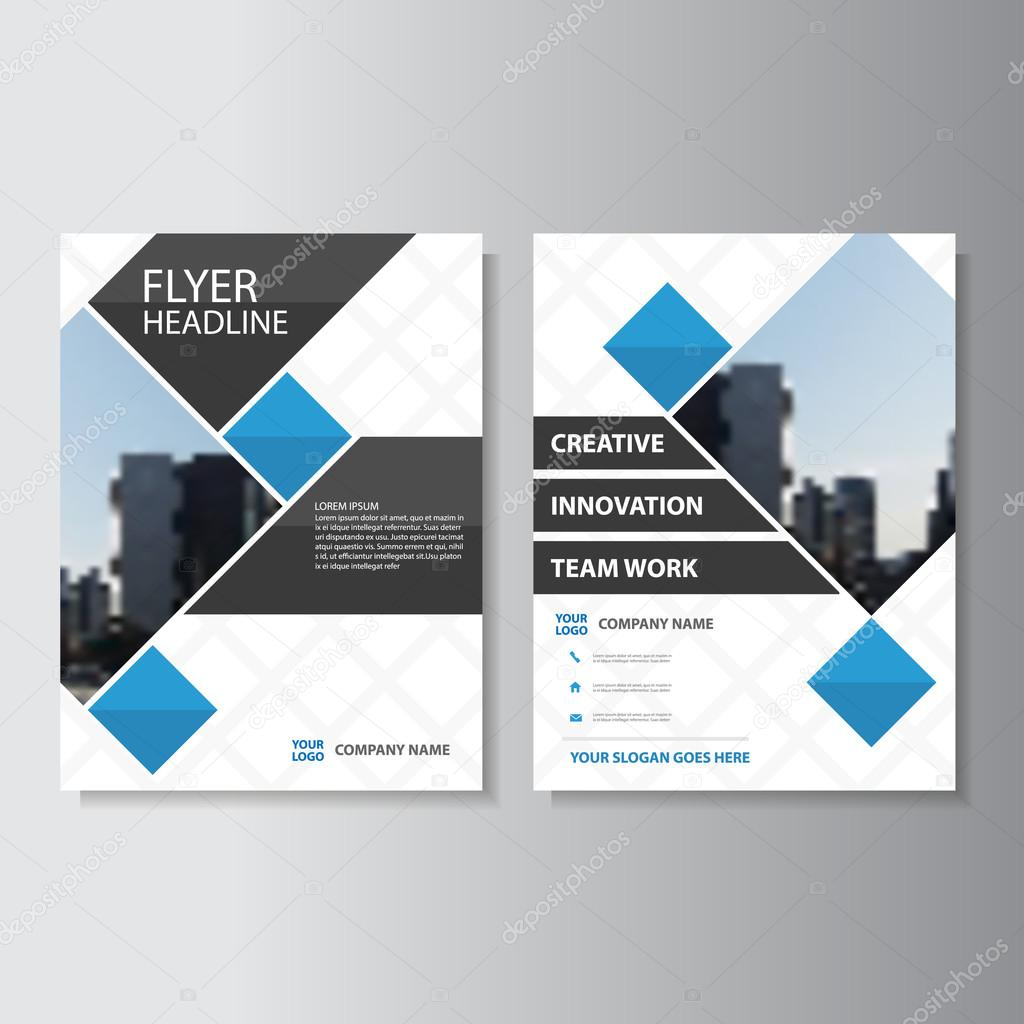 Blue Square Vector Corporate Annual Report Leaflet