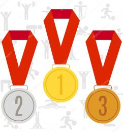 three olympic medals on the ribbon vector illustration gold silver and bronze olympic medals [ 1024 x 1024 Pixel ]