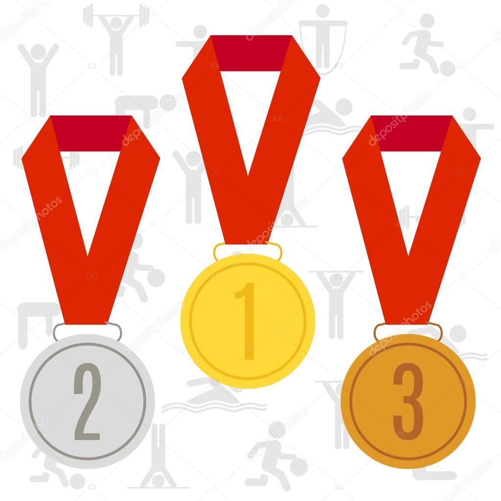 hight resolution of three olympic medals on the ribbon vector illustration gold silver and bronze olympic medals