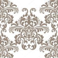 Vintage Vector Rococo Floral ornament damask pattern ...