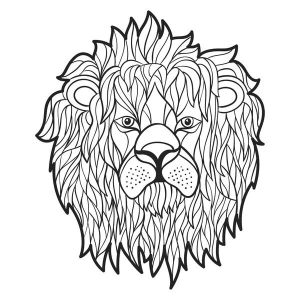 Hand getrokken Leeuw kleuren pagina geïsoleerd op witte