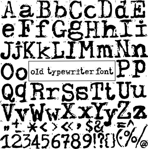 Vector old typewriter font. Vintage grunge letters. Old