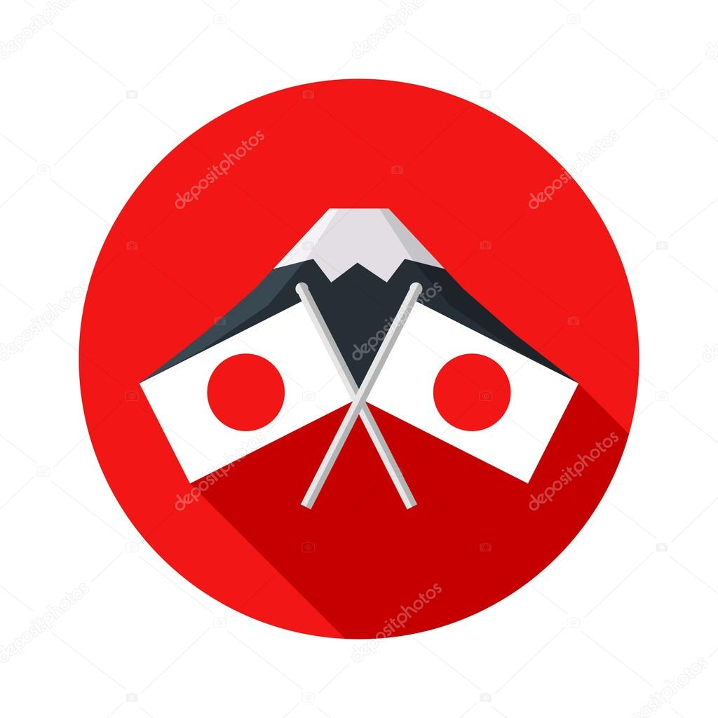 Icono Con La Bandera De Japon Monte Fuji