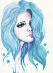 crying girl with blue hair. watercolor
