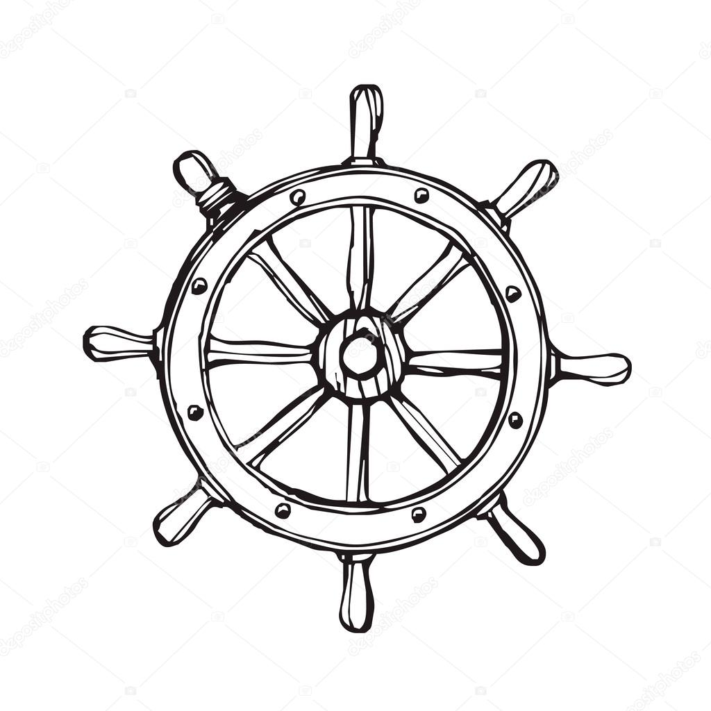 Vector Handdrawn Black Ship Wheel