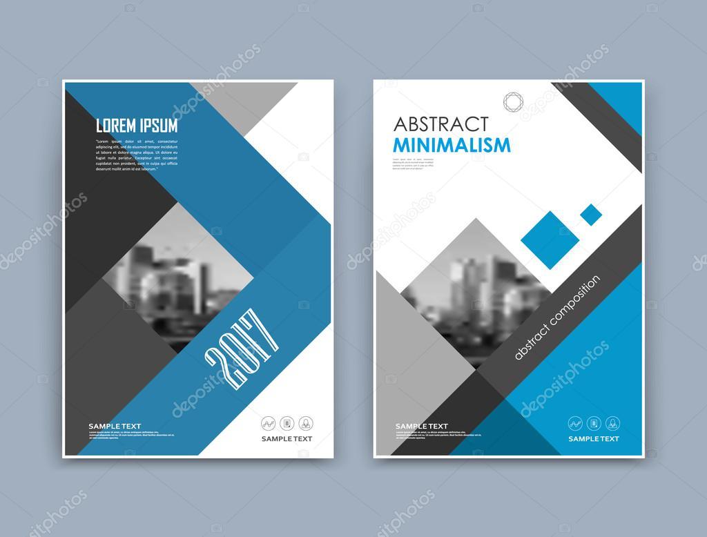 A4 パンフレットの表紙デザインを抽象化します。テキスト フレームの表面。都市表示フォント。黒、白、青のタイトル