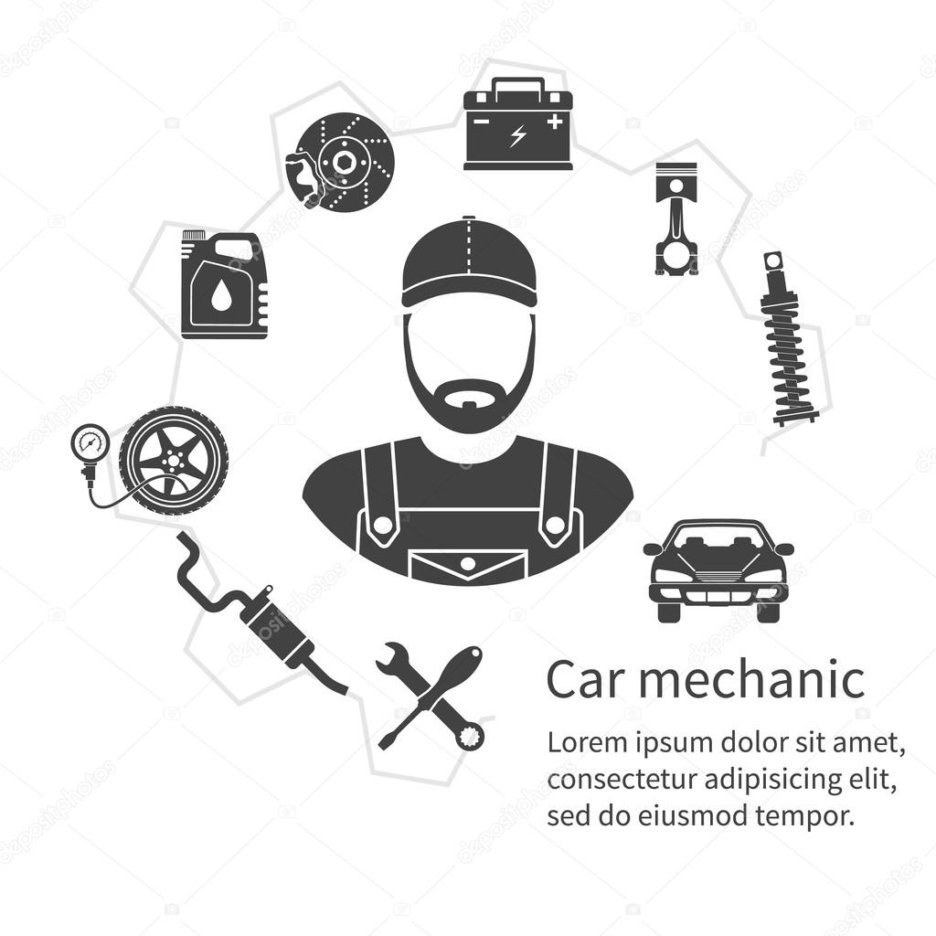 Car Mechanic Icons Tools And Spare Parts Concept Repair