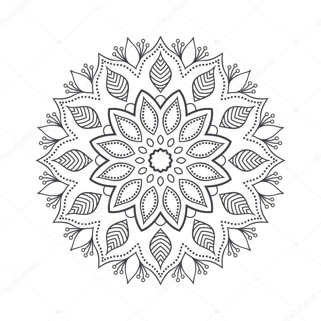 Hand drawn flower mandala for coloring book. Black and